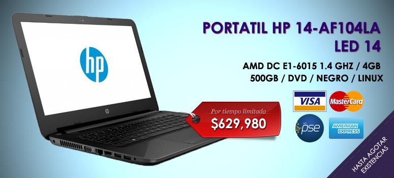 Portatil HP14-AF104LA (Color Negro)-Sistema Operativo Ubuntu LINUX-Procesador APU AMD E1-6015(2a) Dual-Core/Velocidad 1 4 GHz. Memoria 4 GB. Disco duro de 500 GB .