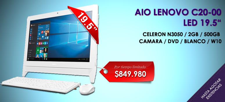 El All in One Lenovo C20-00 es una gran opción en equipos profesionales informáticos. Cuenta con sistema Windows 10  lo que la convierte en uno de los mejores dispositivos de tipo PC de escritorio.