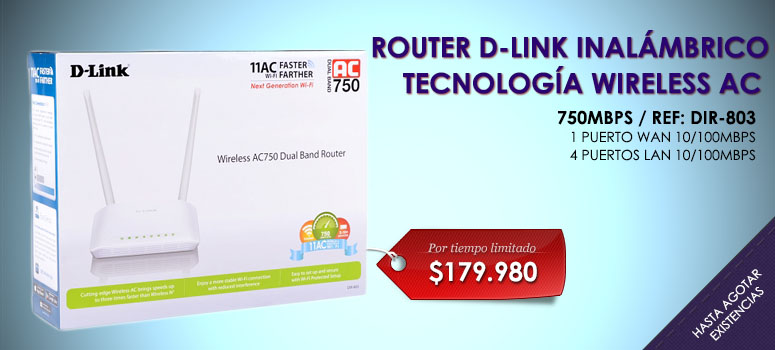 El Router DIR-803 Wireless AC750 Dual Band de D-Link es una potente y asequible solución inalámbrica que combina la última especificación Wi-Fi de alta velocidad 802.11ac con tecnología Dual Band
