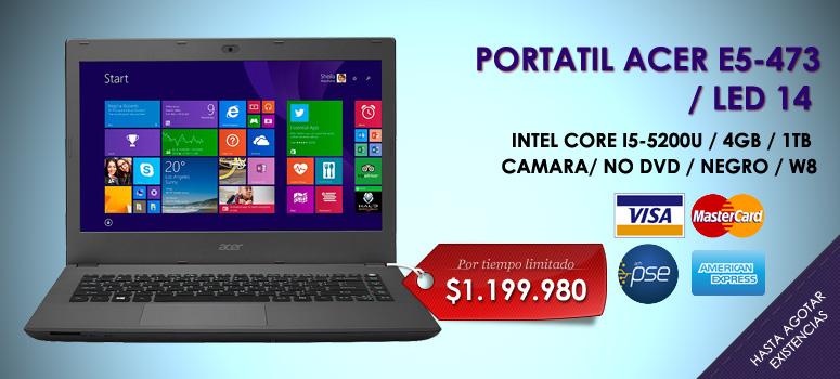 La laptop Acer E5-473-59Y5  ofrece una gran cantidad de novedosas opciones  con un atractivo diseño que supera las expectativas  color negro y una superficie con acabado texturizado  la Aspire serie E es la mejor